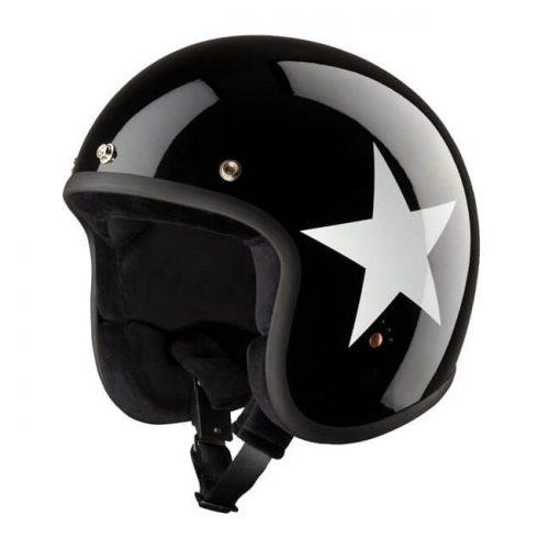 Casco jet Bandit Star negro/blanco ECE