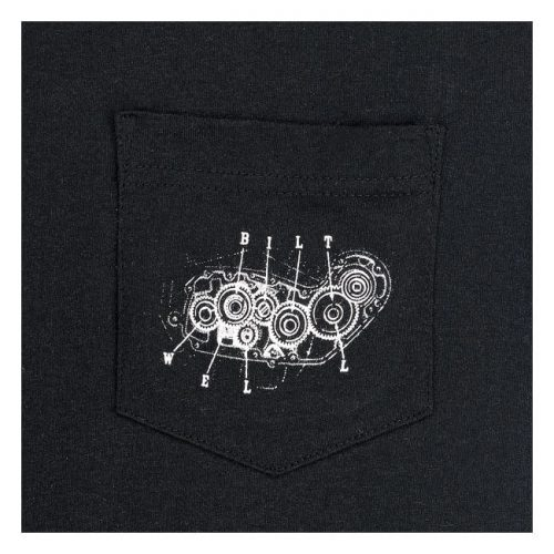Camiseta biltwell negra con estampado 4 cam en blanco