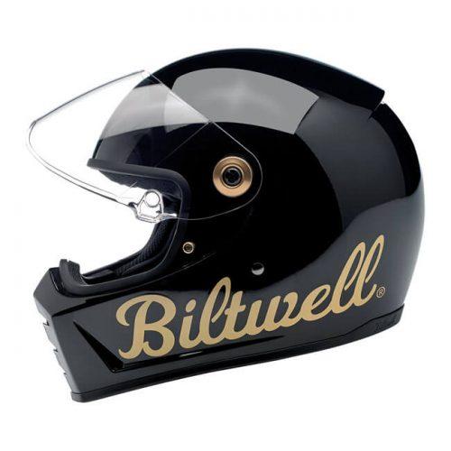 BILTWELL LANE SPLITTER HELMET GLOSS BLACK GOLD FACTORY 1