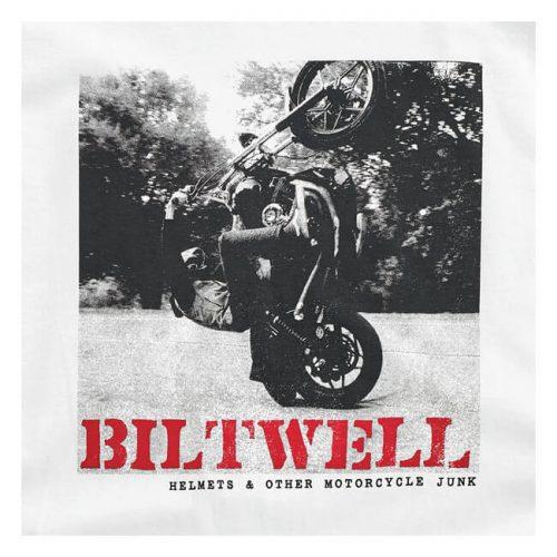 Camiseta Biltwell Not Dead blanca con estampado de moto levantando rueda