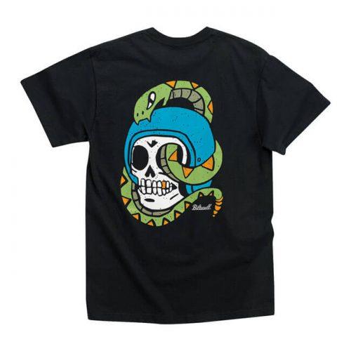 Camiseta negra biltwell con estampado de calavera con serpiente