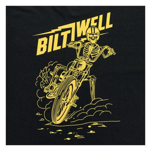 Camiseta Biltwell con esqueleto en moto estampado en amarillo
