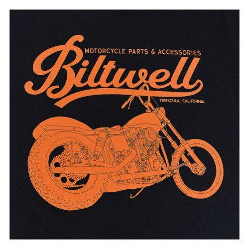 Camiseta Biltwell con estampado de su marca y moto en naranja