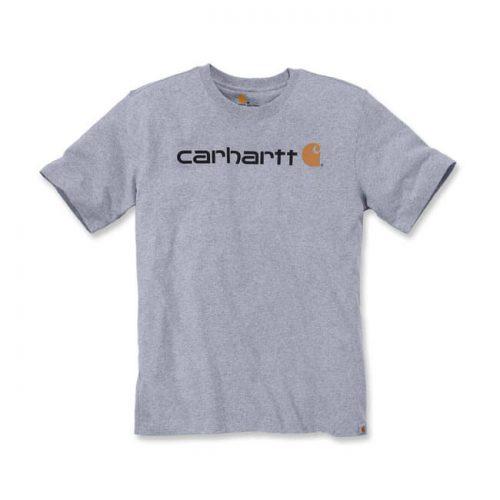 Camiseta de la marca Carhartt fabricada con 90% algodón y 10% poliéster con estampado de la marca en el pecho