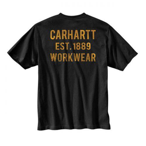 Camiseta básica de la marca Carhartt fabricada en 100% algodón. Cuello redondo, etiqueta de clip con el logo de la marca, bolsillo delantero con estampado en él y estampado en la parte trasera.