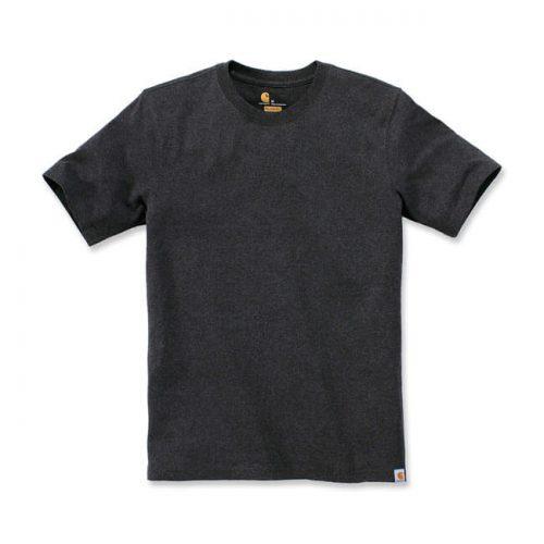 Camiseta básica de la marca Carhartt fabricada en 60% algodón y 40% poliéster. Cuello redondo y etiqueta de clip con el logo de la marca carbón