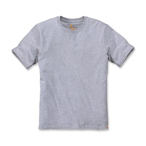 Camiseta básica de la marca Carhartt fabricada en 90% algodón y 10% poliéster. Cuello redondo y etiqueta de clip con el logo de la marca gris