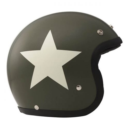 Casco jet DMD Vintage Star Green ECE