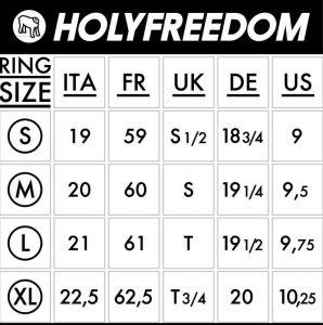 Guía de tallas anillos Holy freedom