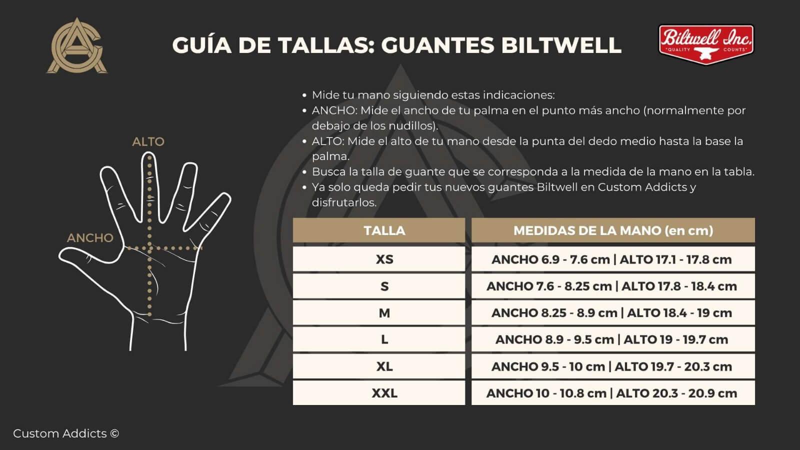 Guía de tallas para guantes Biltwell