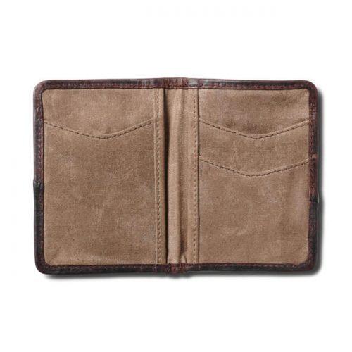 guardabosque RSD algodón encerado y cuero 100% algodón encerado Ribete de cuero Logo RSD dorado envejecido Bolsillos para guardar tarjetas