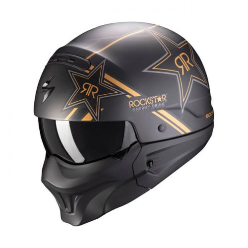Casco integral Scorpion Exo-Combat Rockstar Gold ECE